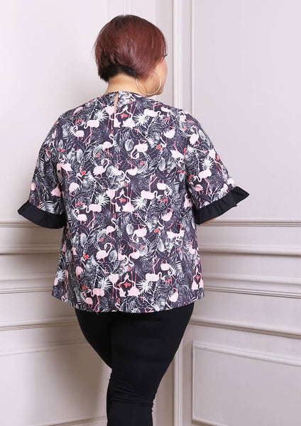 Flamingo Tropical Blouse with Ruffle Sleeves