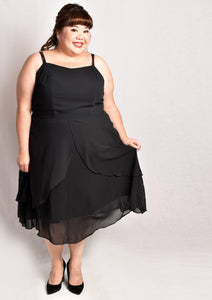 Sleeveless Black Tulip Chiffon Dress