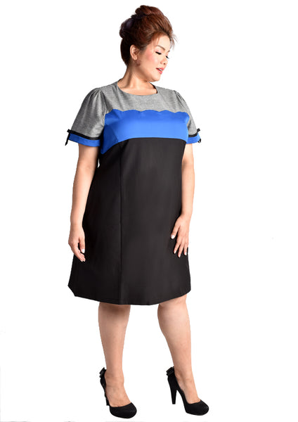 Scallop Detailed Work Dress with Pockets (Pink/Blue)