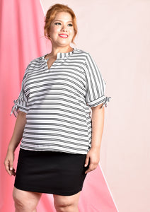 Striped Blouse with Adjustable Ribbons at Sleeves (White/Black)