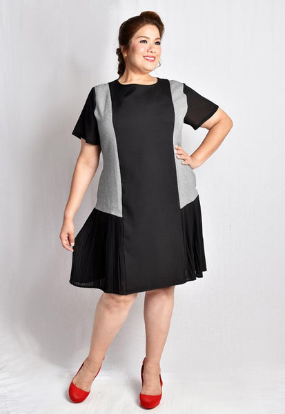 Houndstooth Panel Dress with Lace Details