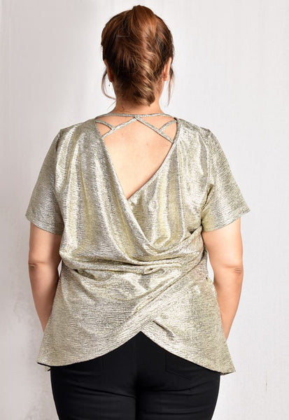 Bareback Blouse with Strap Details (Yellow Gold/Gold/Black/Bronze)