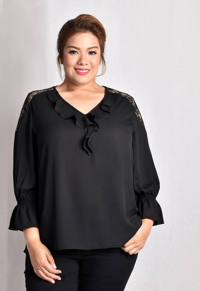 """V"" Neck Blouse with Ruffles and Lace Details"