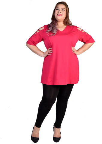 """V"" Neck Blouse with Criss Cross Sleeves (Hot Pink/Black/Grey)"
