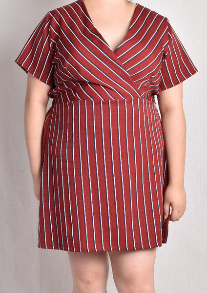 Striped Wrap Dress (Dark Blue/Red)