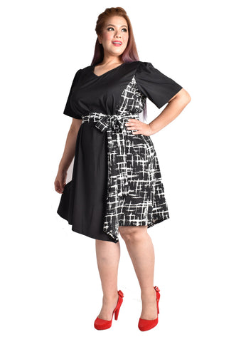 Abstract Asymmetrical Dress with Obi Belt