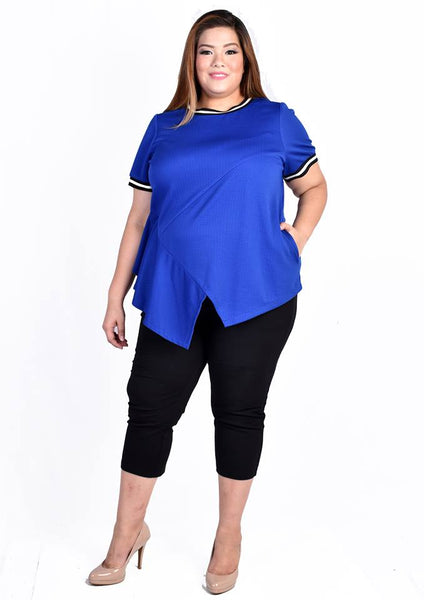 Blue Ribbed Asymmetrical Jersey Blouse