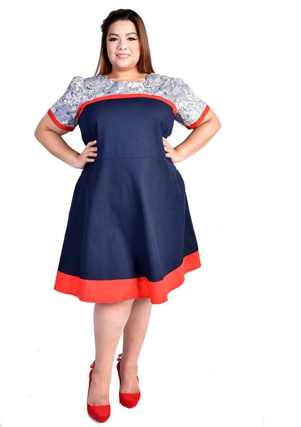 Blue Dress with Red Piping and Lace Details