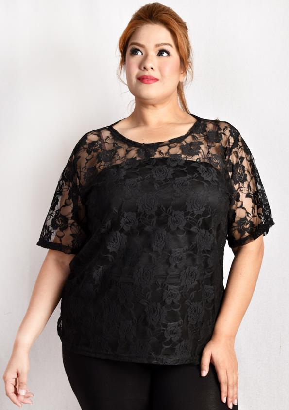 Translucent Floral Lace Blouse with Tube Inner Wear