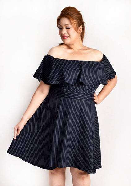 Off Shoulder Ruffles Empire Cut Dress (Stripes/Polka Dot)