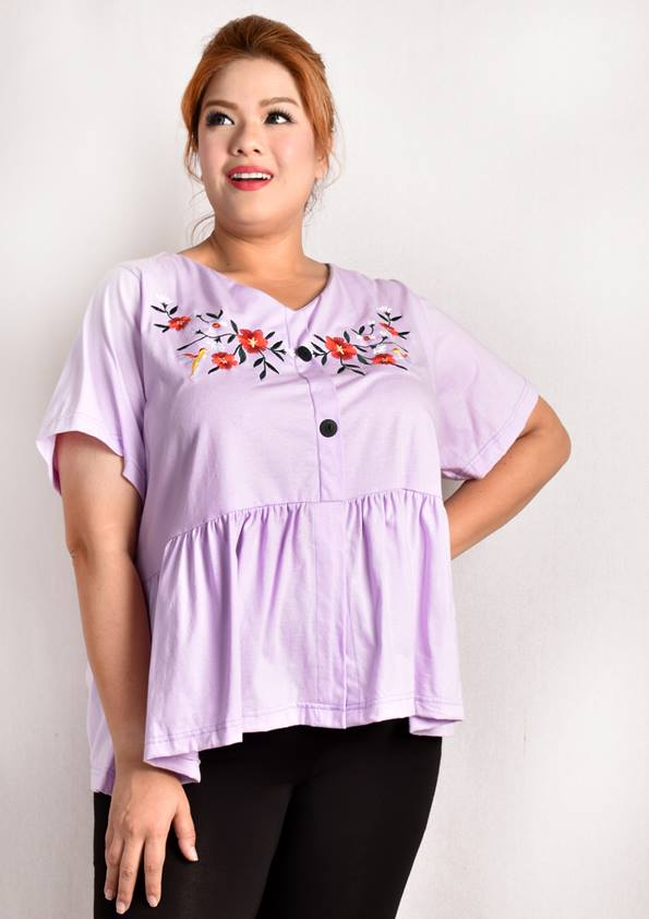 Lavender Babydoll Blouse wth Floral Embroidary