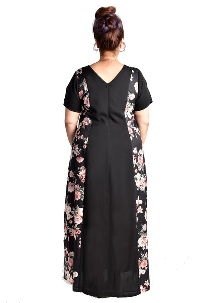 Yin and Yang Mod Maxi Dress (Pink Florals/Blue Florals)