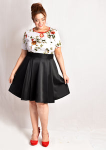 Floral Keyhole Bottom Scuba Dress (Black/White)