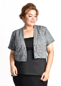 Cropped Button Up Cardigan (Black/Grey/Blue)