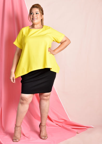 Yellow Sloping Hem Work Blouse
