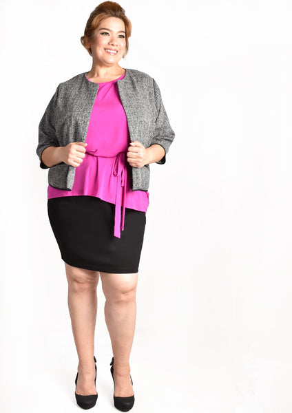 Fuscia Pink Blouse with Front Tie Up Details