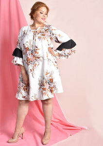 Floral Dress with Bell Sleeves and Adjustable Ribbon (White/Black)