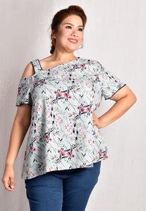 Teal Florals Slanted Cold Shoulder Blouse with Lace Trimming