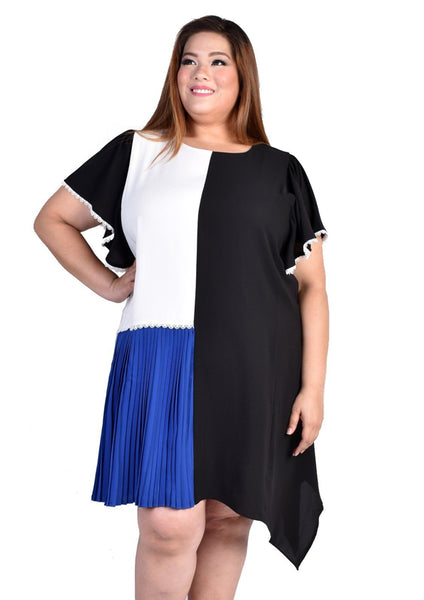 Colour Block Dress with Butterfly Sleeves