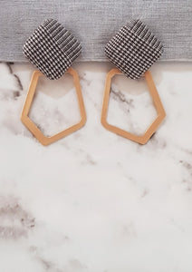 Houndstooth Bronze Hexagon Loop Earrings