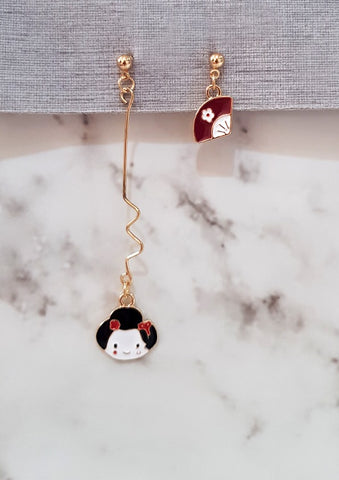 Japanese Doll Twirl Earrings