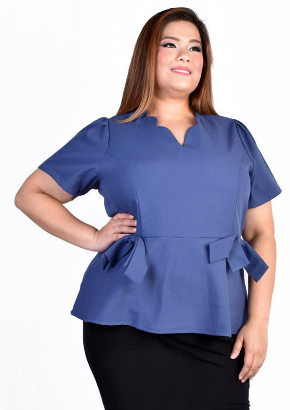 Scallop Collar Blouse with Ribbons (Light Blue/Dark Blue)
