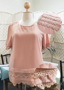 Pink Blouse with Lace Details at Hem and Shoulders