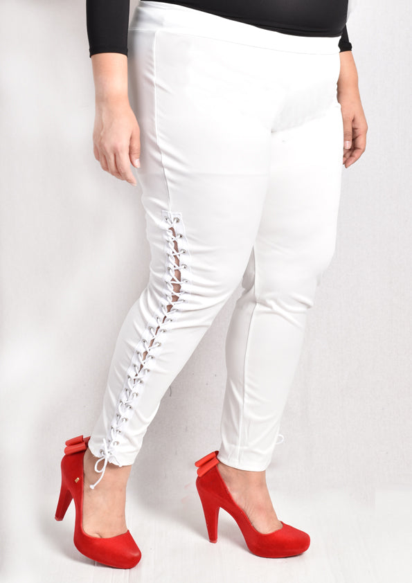 White Leggings with Shoelace Details