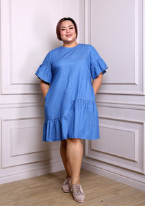 Chambray Dress with Asymmetrical Details and Bell Sleeves (Light Blue/ Dark Blue)