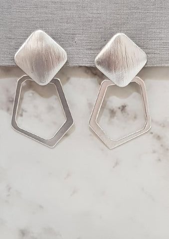Metallic Abstract Hexagon Loop Earrings