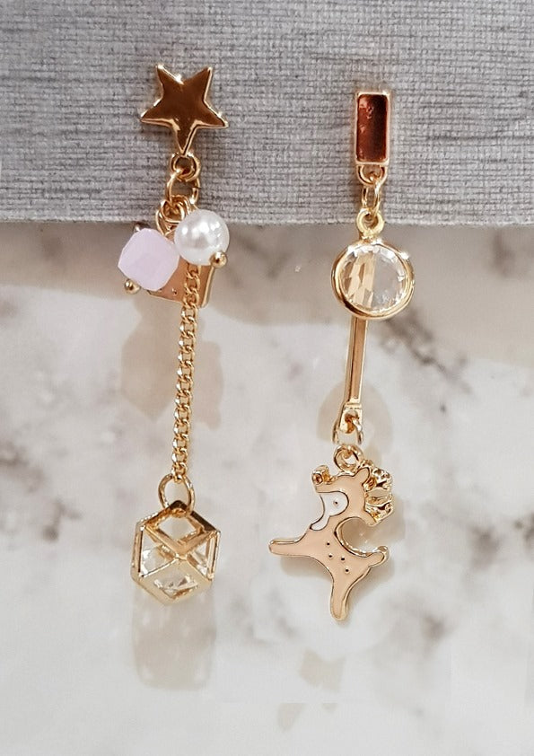 Demure Deer Pink Gold Dangling Earrings