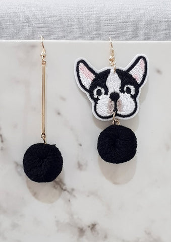 Bulldog and Pom Pom Earrings