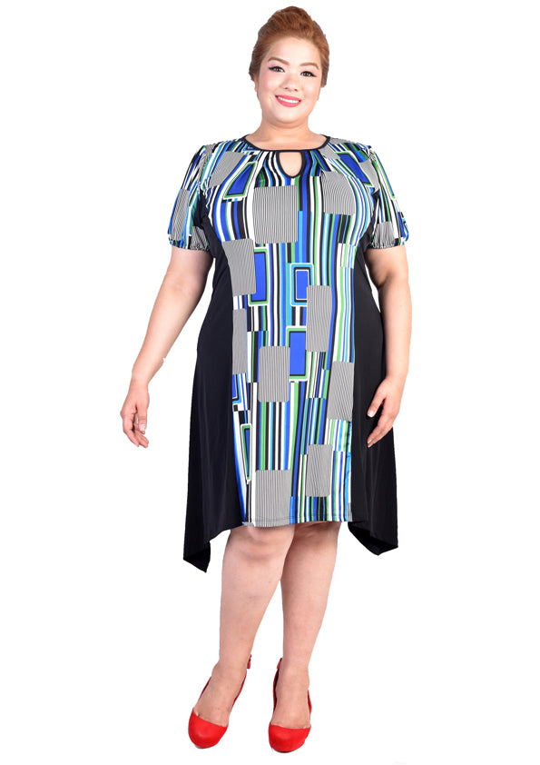 Geometric Dress with Keyhole & Sloping Hem