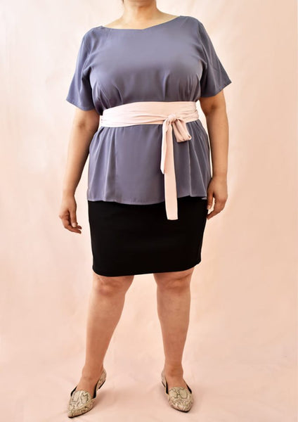 Plain Blouse with Tencel Inspired Material and Obi Belt (Grey/Pink)