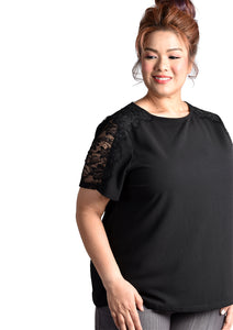 Black Blouse with Lace Sleeves