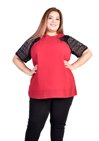 Red Blouse with Aztec Lace Sleeves