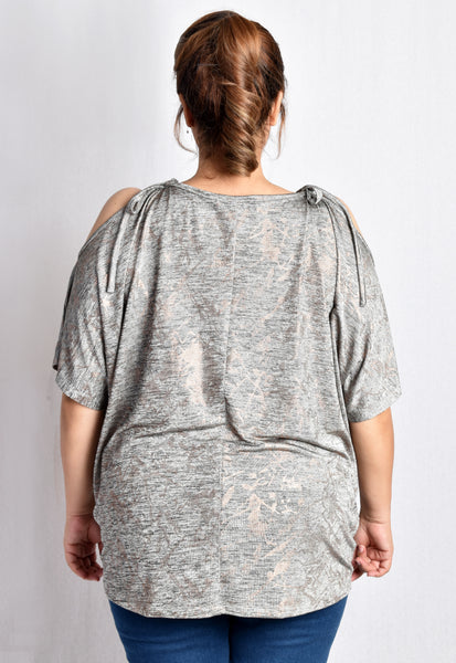 Cold Shoulder Drawstring Shimmer Blouse (Gold/Rose Gold)