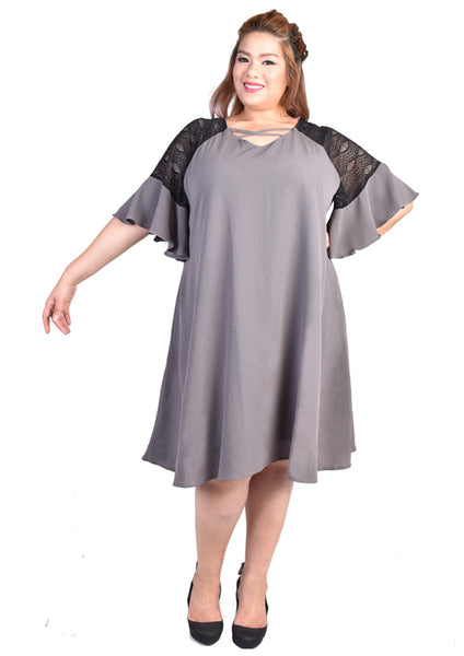 Lace Bell Sleeves Dress (Grey/Black)
