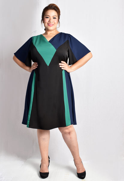 Green Colour Block Dress with Flare Sleeves