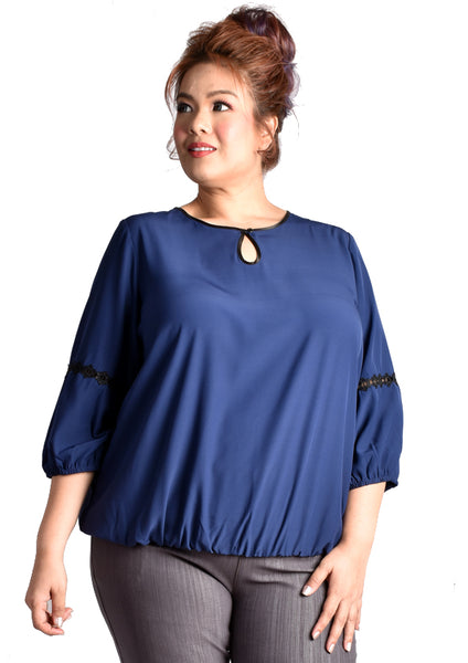 Blue Keyhole Long Sleeve Blouse with Step Lace Details (KATE Range)