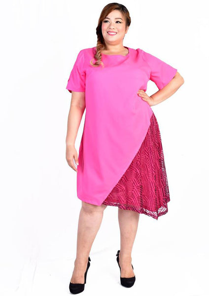 Pink Asymmetrical Lace Hem Line Sleeve Dress