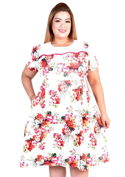White Skater Dress with Red Florals