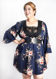 "Low ""V"" Lace Blue Floral Kimono Wrap Dress with Lace Details and Camisole"