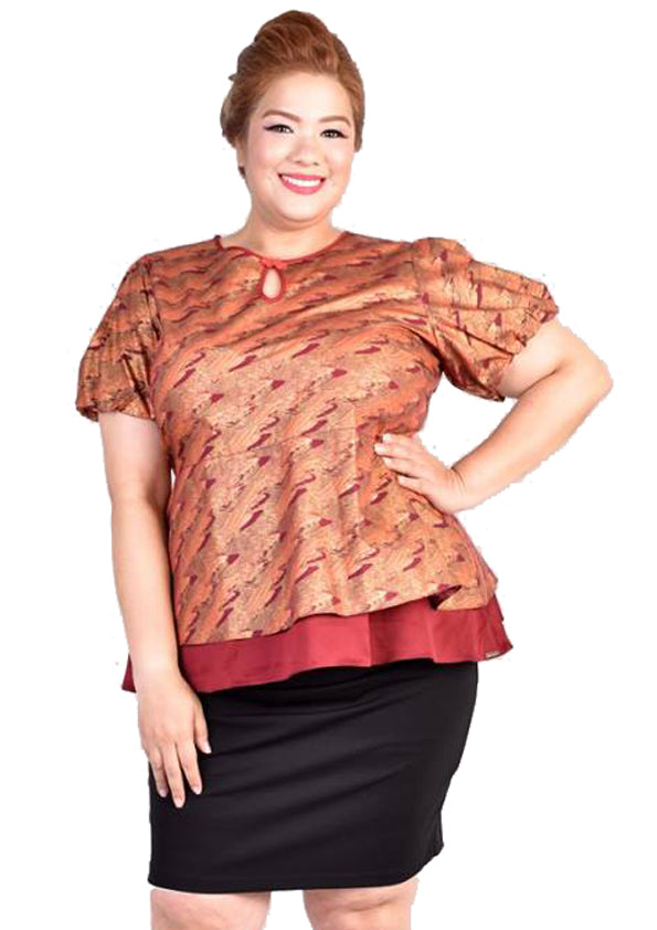Bronze Abstract Printed Peplum Blouse with Puffy Sleeves