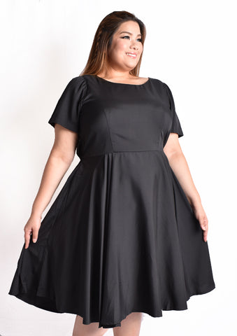 Classic Black Dress with Back Bow Details