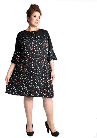 Floral Printed Dress with Mesh Details and 3/4 Sleeves (KATE Range)