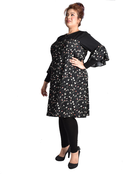 Floral Printed Dress with Mesh Details and 3/4 Sleeves