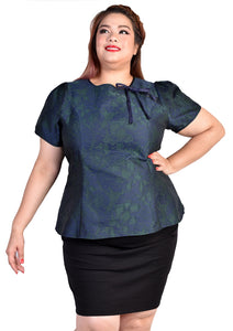 Emerald Green Jacquard Blouse with Ribbon