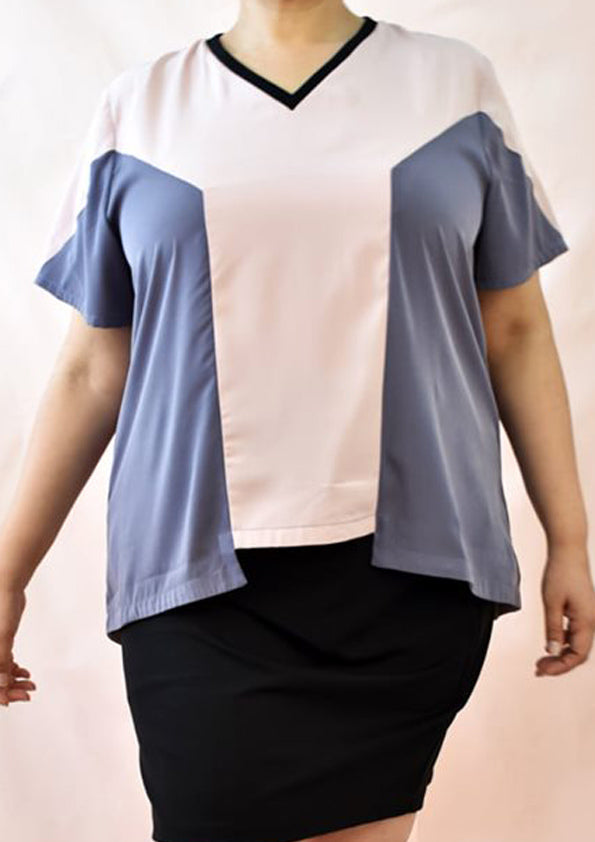 Cotton Ribbed Pastel Pink & Grey Panel Blouse with Tencel Inspired Material