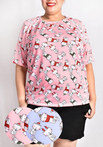 Christmas Cat Plus Size T-shirt (Pink / Blue)